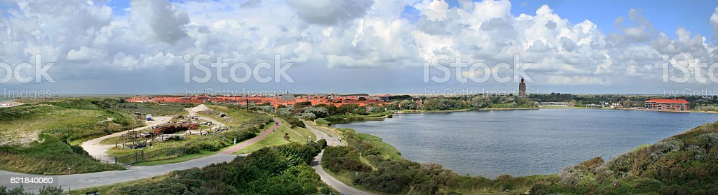 Panorama of a village at the sea in the Netherlands stock photo