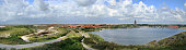 Panorama of a village at the sea in the Netherlands