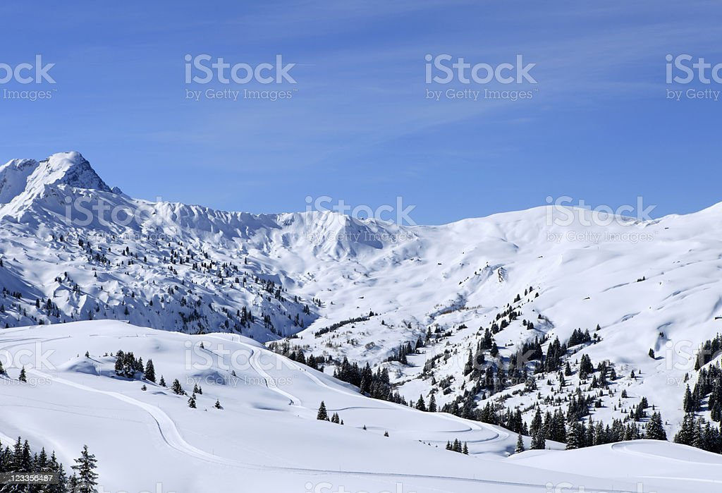 panorama of a winter sports area in the Alps royalty-free stock photo