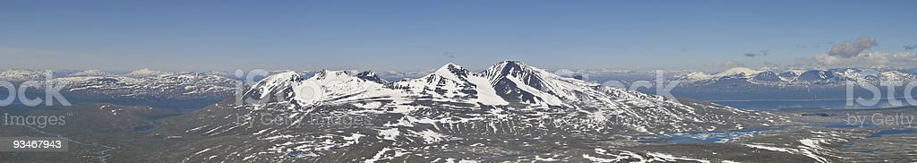 Panorama of Akka Mountain in Sarek National Park stock photo