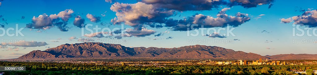 Panorama of Albuquerque Skyline and Sandia Peak stock photo