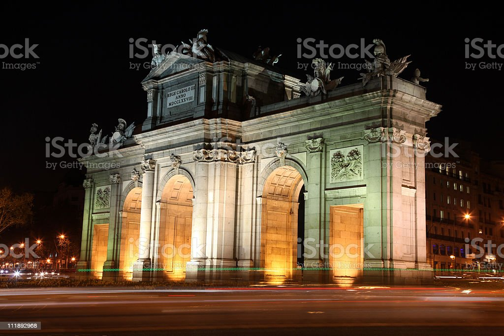 Panorama of Alcala Gate in Madrid, Spain royalty-free stock photo