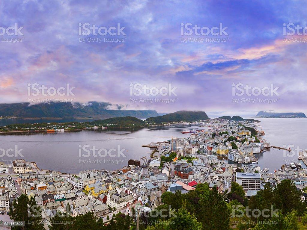 Panorama of Alesund - Norway stock photo