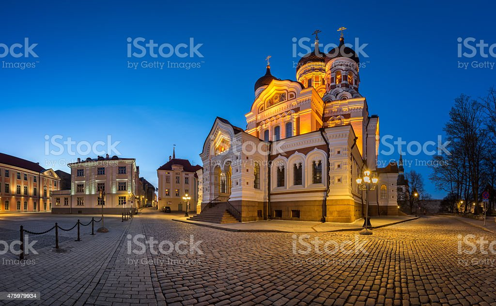 Panorama of Alexander Nevsky Cathedral in the Evening, Tallinn stock photo