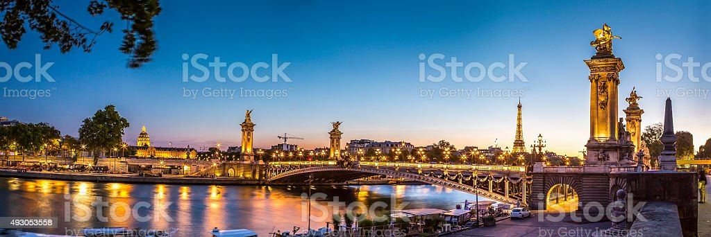 Panorama of Alexandre III bridge in Paris at sunset stock photo