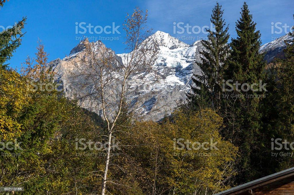 panorama of Alps Bluemlisalp peak, Switzerland stock photo