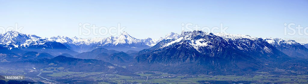 panorama of alps in austria stock photo