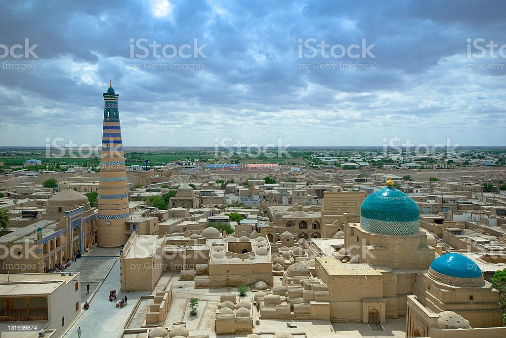 Panorama of an ancient city Khiva, Uzbekistan stock photo