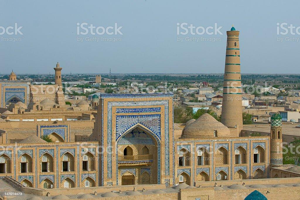 Panorama of an ancient city Khiva, Uzbekistan royalty-free stock photo