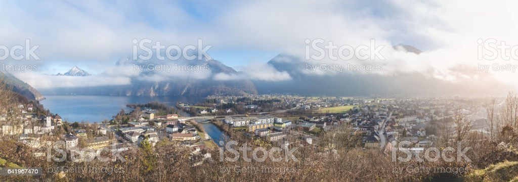 Panorama of an small town on an lake stock photo