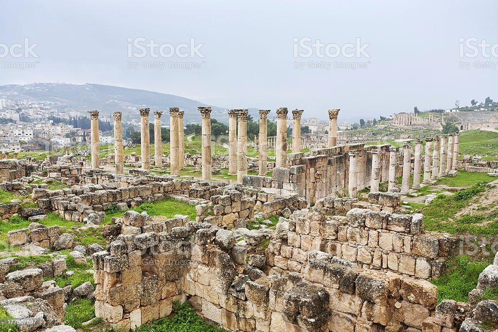 panorama of ancient city Gerasa and modern Jerash stock photo