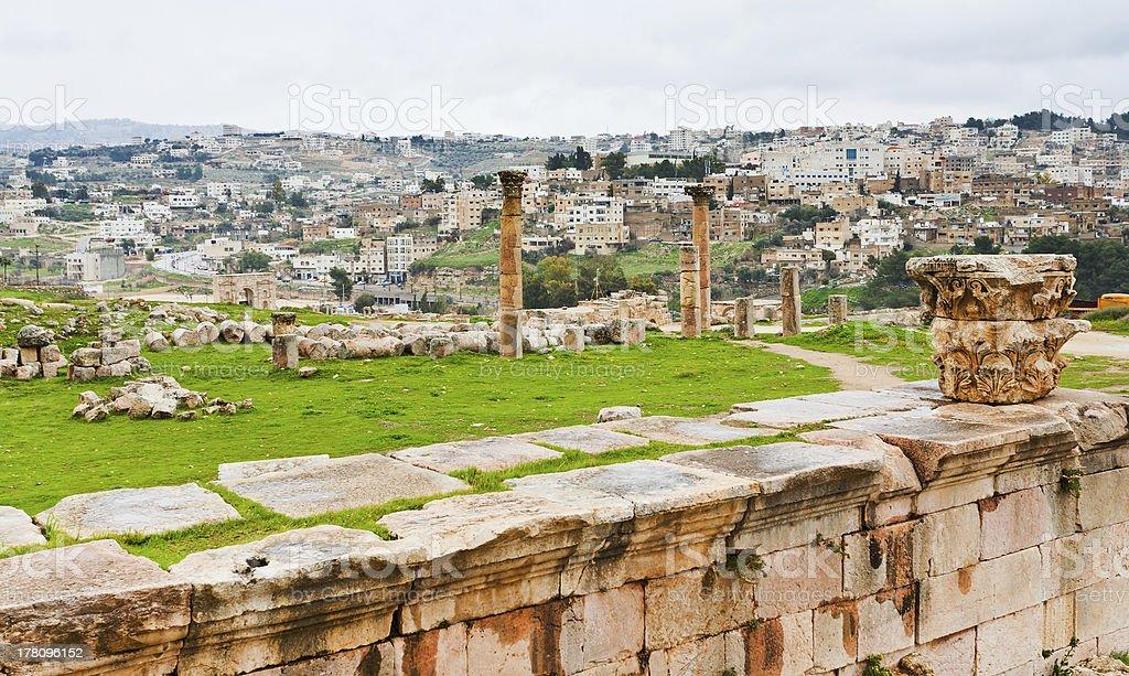 panorama of ancient city Gerasa and modern Jerash stock photo