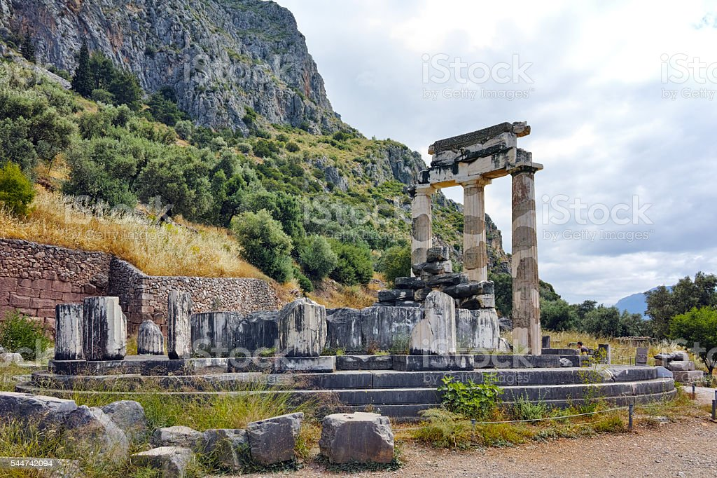 Panorama of Ancient Greek archaeological site of Delphi, Greece stock photo