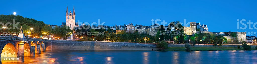 Panorama of Angers at night stock photo