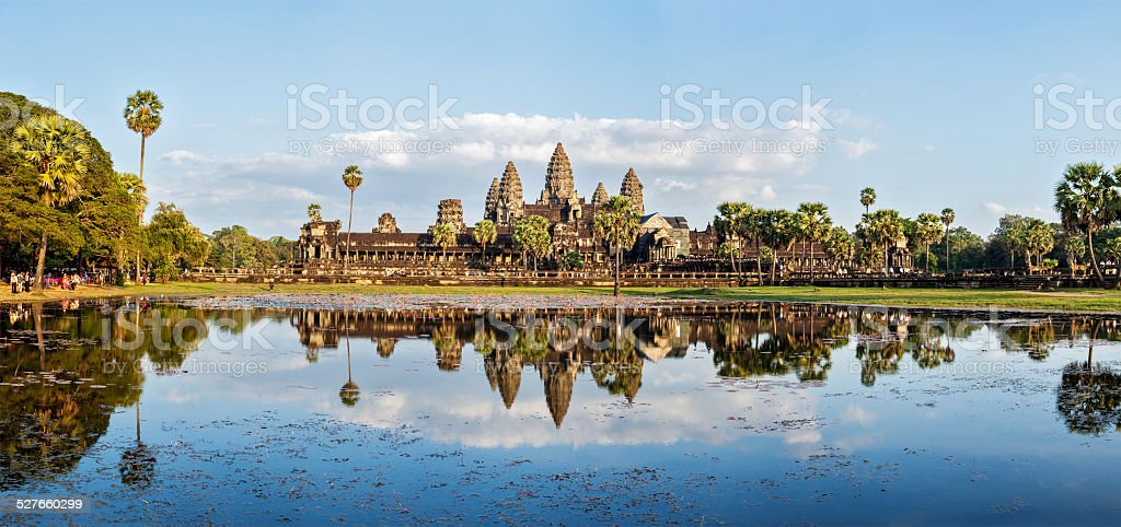 Panorama of Angkor Wat stock photo