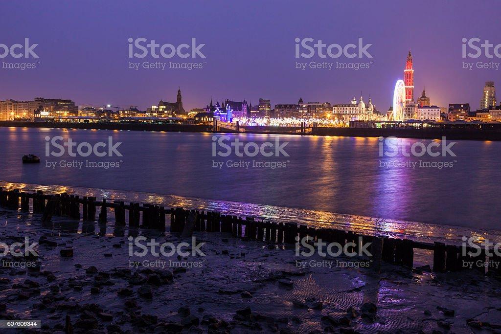 Panorama of Antwerp across Scheldt River stock photo