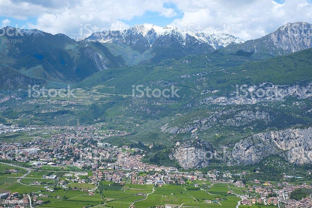 Panorama of Arco below Alps Mountains, Trento, Italy stock photo