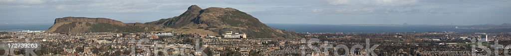 Panorama of Arthur's seat, the crags and East Lothian (XXL). stock photo