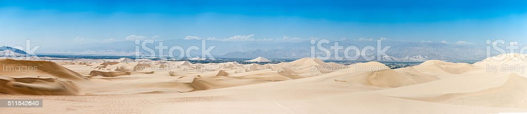 Panorama of Atacama Desert in Huacachina, Peru. stock photo
