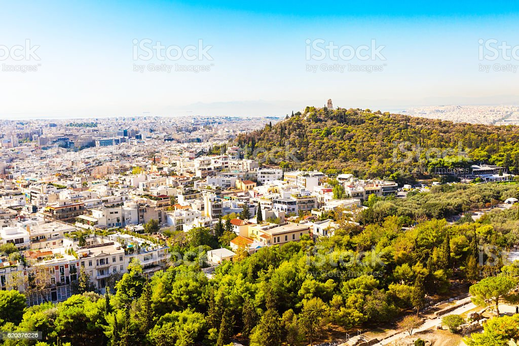 Panorama of Athens, Greece with houses and hills stock photo