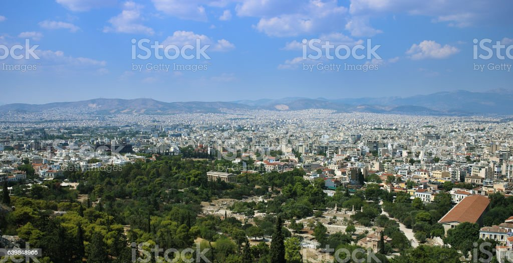 Panorama of Athens with the ancient Agora stock photo