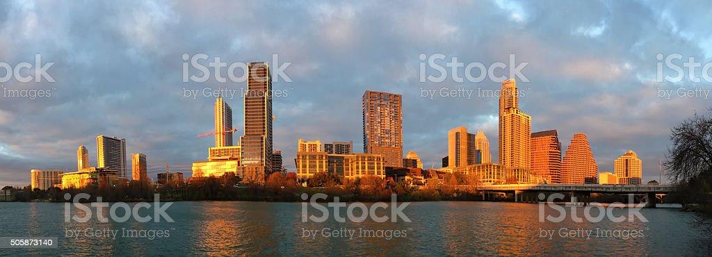 Panorama of Austin skyline glowing at sunset stock photo