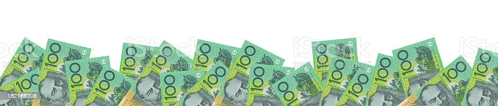 Panorama of Australian 100$ Notes Isolated (clipping path included) stock photo