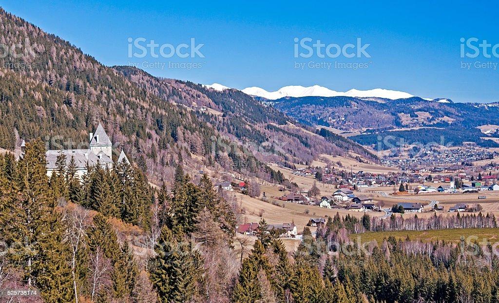 Panorama of austrian countryside stock photo