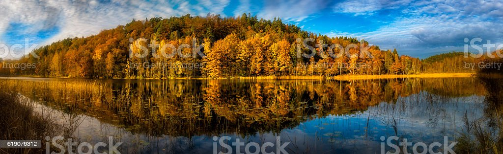 Panorama of Autumn forset by lake in Sweden stock photo