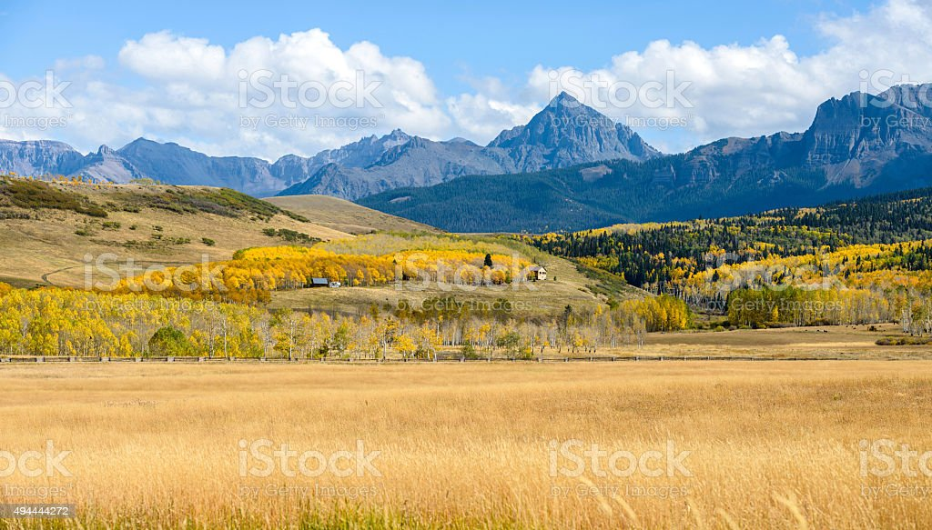 Panorama of Autumn Mountain Valley at Mt. Sneffels stock photo