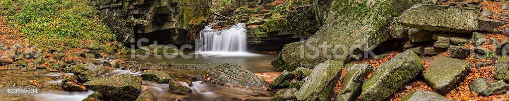 Panorama of autumn waterfalls stock photo