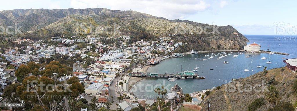 Panorama of Avalon, Catalina Island stock photo