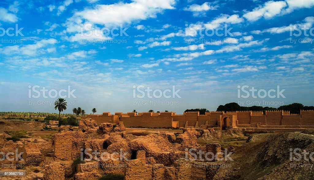 Panorama of Babylon ruins, Hillah, Iraq stock photo