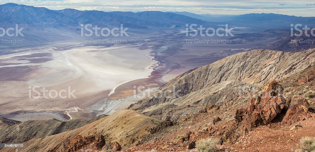 Panorama of badwater from Dante's view in Death Valley stock photo