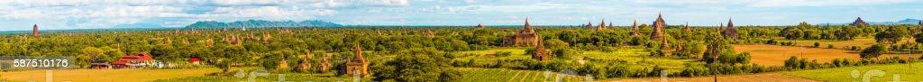 Panorama of Bagan, Myanmar stock photo