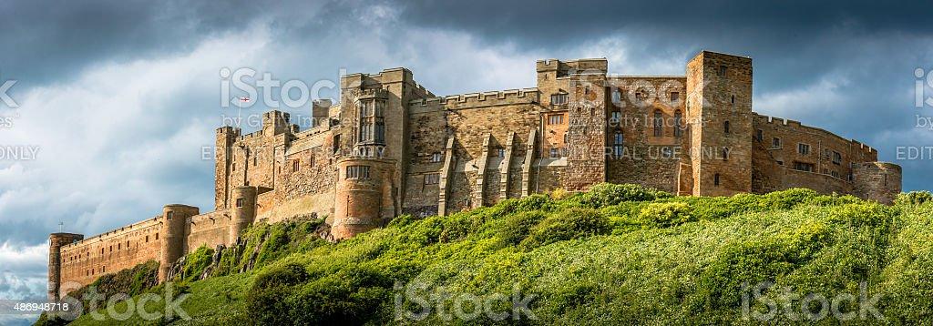 Panorama of Bamburgh Castle stock photo