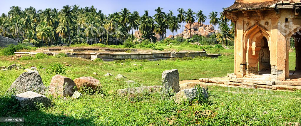 Panorama of Band Tower with ancient ruins in Hampi, India. stock photo