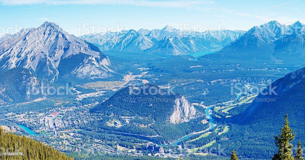 Panorama of Banff, Canadian Rockies stock photo