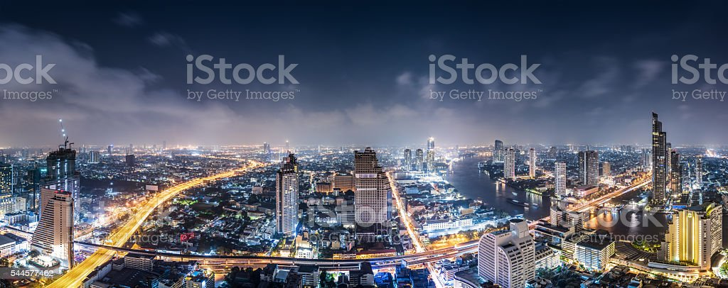 Panorama of Bangkok Skyline at Night stock photo