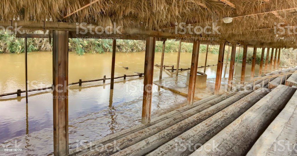 Panorama of Baptismal site Qasr el Yahud on the Jordan river near Yericho is according to the bible the place where Jesus Christ is being baptized by John the baptist stock photo