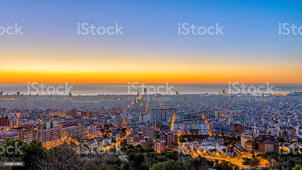 Panorama of Barcelona before sunrise stock photo