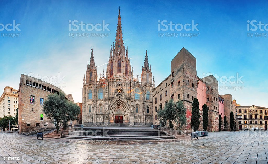 Panorama of Barcelona Cathedral. Spain. Barri Gothic stock photo