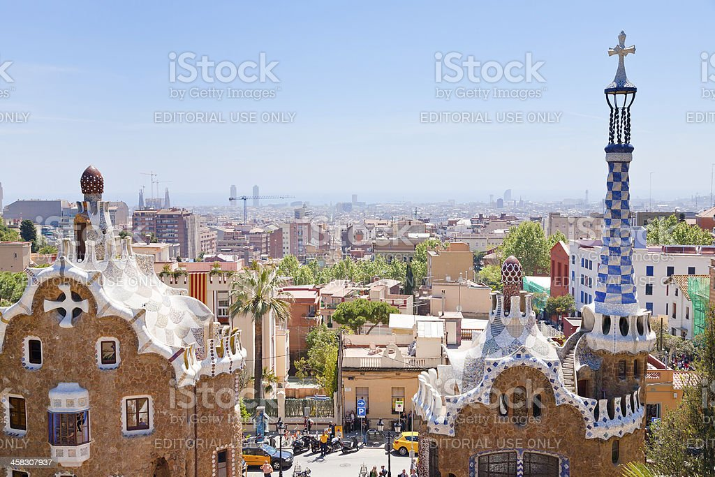 panorama of Barcelona city from Park Guell royalty-free stock photo