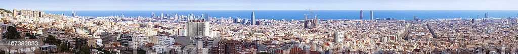 Panorama of Barcelona cityscape in sunny day. Spain stock photo