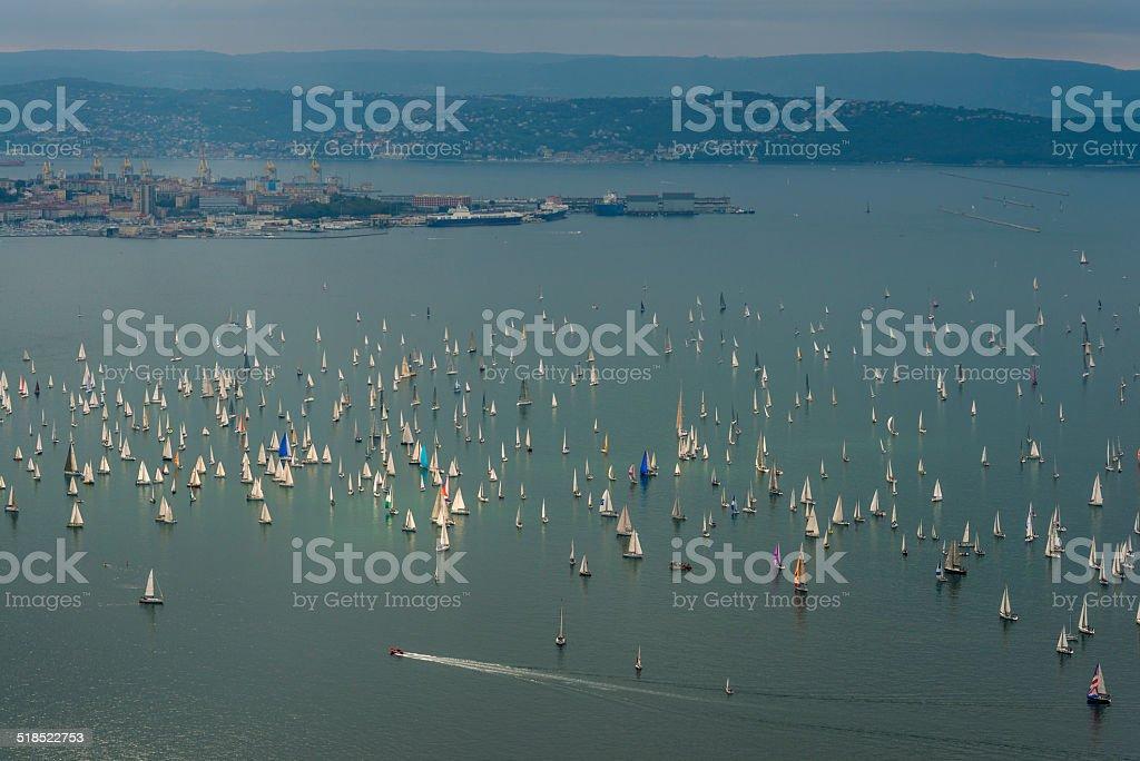 Panorama of Barcolana Regatta, Trieste , Italy , Europe stock photo
