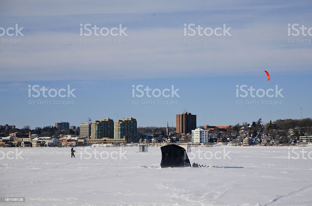 Panorama of Barrie, Ontario in the winter stock photo