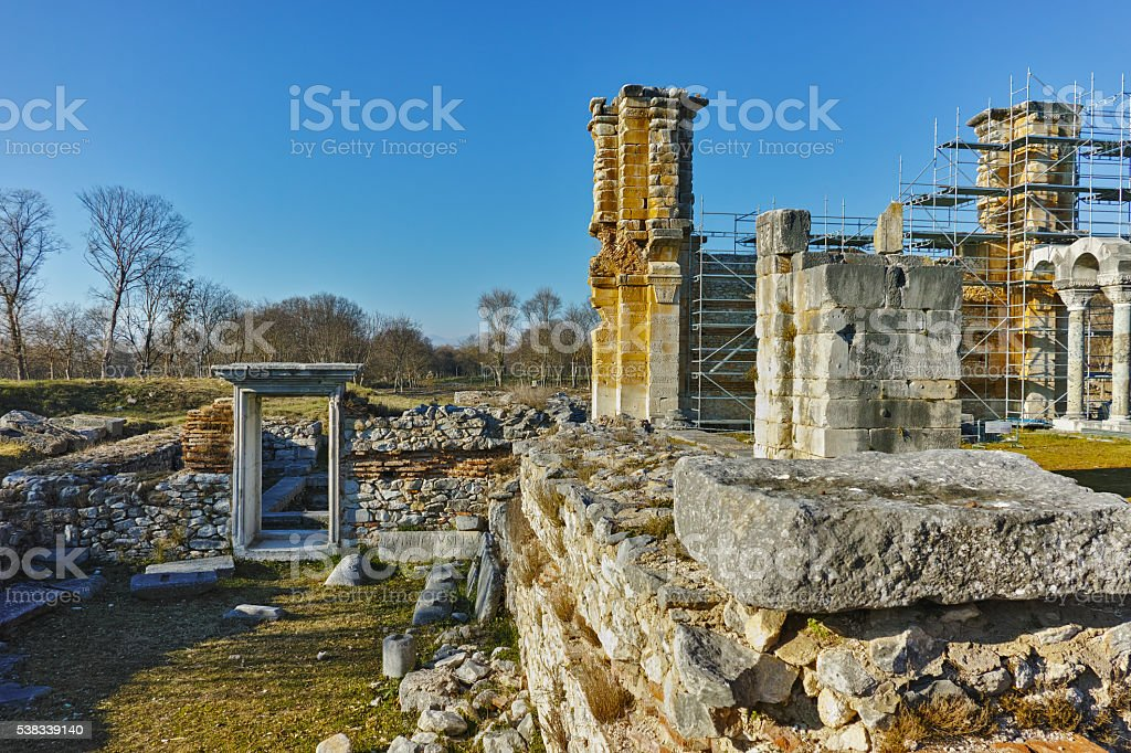 Panorama of Basilica in the archeological area of ancient Philippi stock photo