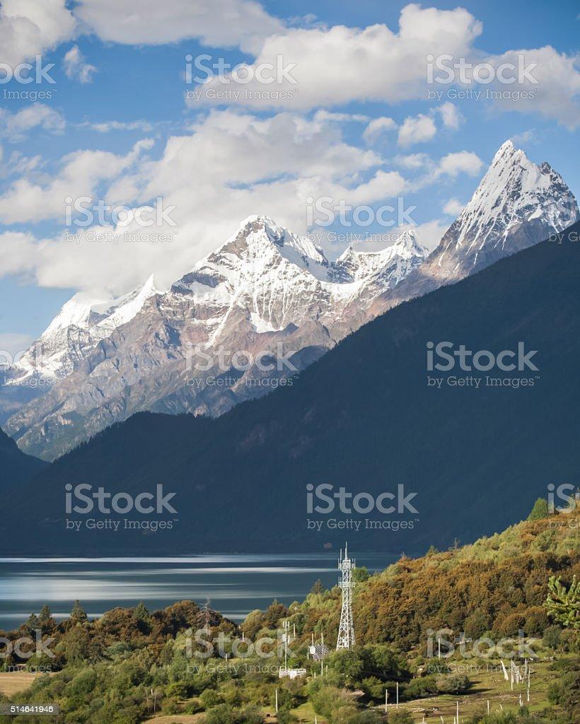 Panorama of Basum Lake stock photo