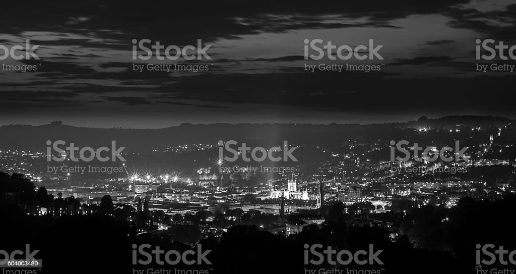 Panorama of Bath Abbey and city at night from above stock photo