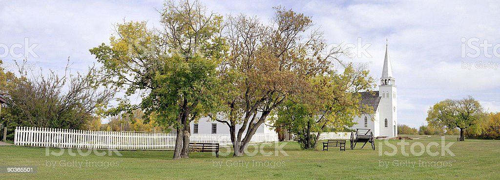 Panorama of Batoche Church and Rectory royalty-free stock photo